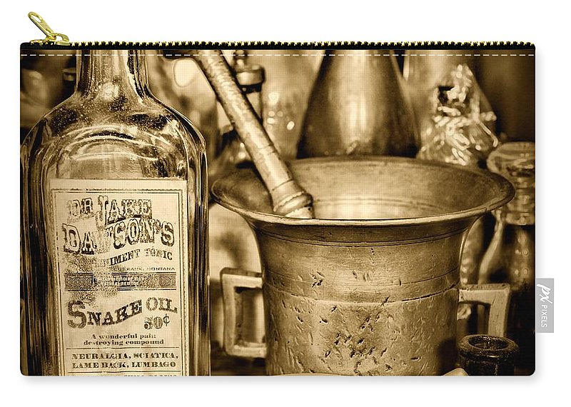 Paul Ward Carry-all Pouch featuring the photograph Pharmacy - Snake Oil - Black And White by Paul Ward