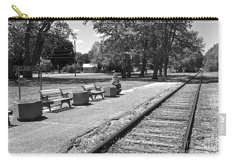 Phelps Carry-all Pouch featuring the photograph Phelps Ny Train Station In Black And White by William Norton