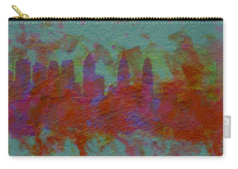 Brick Carry-all Pouch featuring the digital art Philadelphia Skyline Brick Wall Mural by Brian Reaves