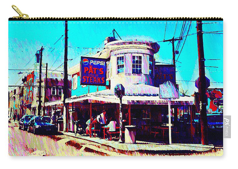 Philadelphia's Carry-all Pouch featuring the photograph Philadelphia's Pat's Steaks by Bill Cannon