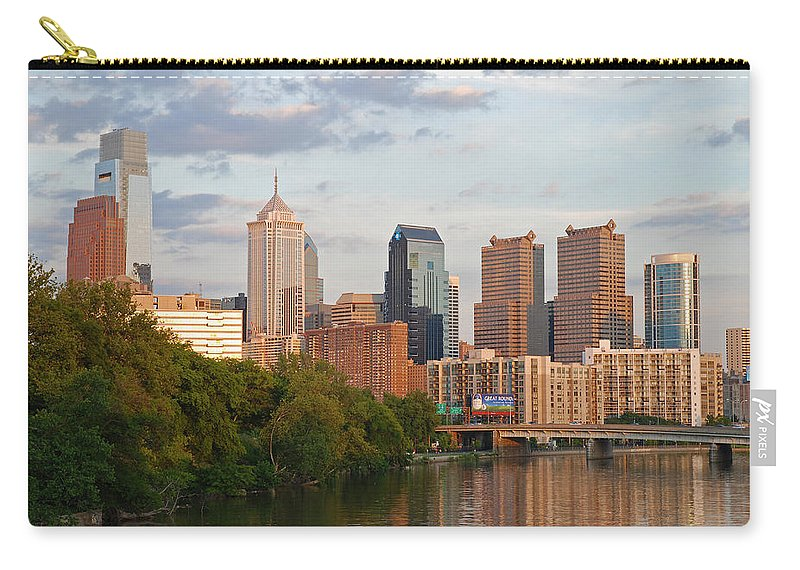 Philadelphia Carry-all Pouch featuring the photograph Philly Summer Skyline by Jennifer Ancker