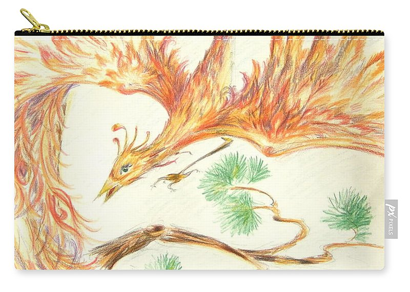Carry-all Pouch featuring the drawing Phoenix In Flight by Katerina Naumenko