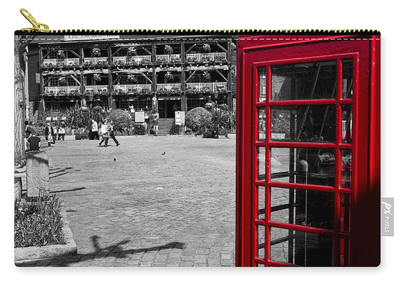 Red Carry-all Pouch featuring the photograph Phone Box London by David Pyatt