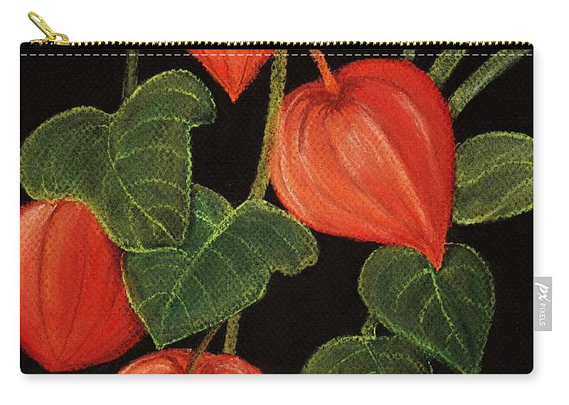 Plant Carry-all Pouch featuring the painting Physalis by Anastasiya Malakhova