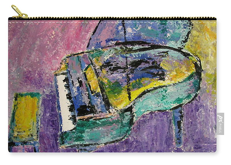 Impressionist Carry-all Pouch featuring the painting Piano Green by Anita Burgermeister