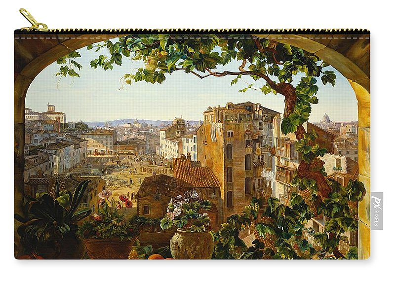Arch Carry-all Pouch featuring the painting Piazza Barberini In Rome by Karl von Bergen