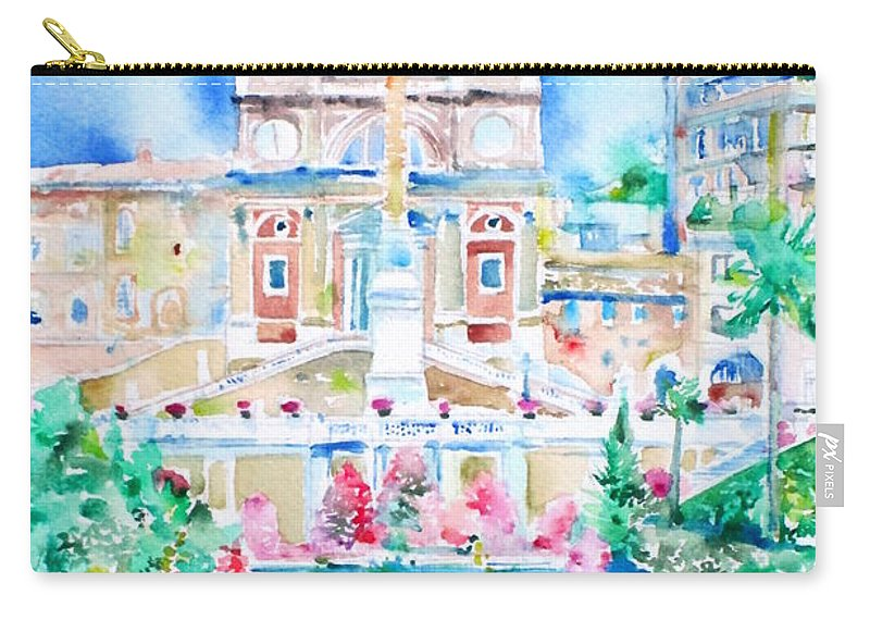 Piazza Di Spagna Carry-all Pouch featuring the painting Piazza Di Spagna - Rome by Fabrizio Cassetta
