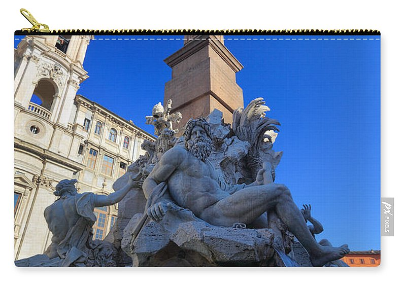 Europe Carry-all Pouch featuring the photograph Piazza Navona Fountain by Inge Johnsson