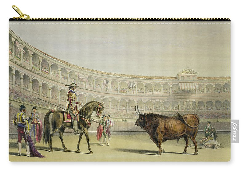 Mounted Bullfighter Carry-all Pouch featuring the drawing Picador Challenging The Bull, 1865 by William Henry Lake Price