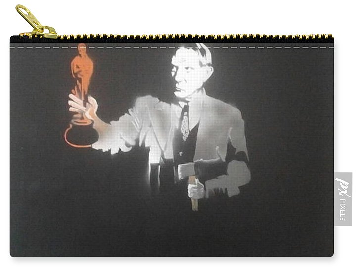 Figurative   Carry-all Pouch featuring the painting Pablo Picasso  With Axe And Oscar Tribute To Robin Williams by MERLIN Vernon