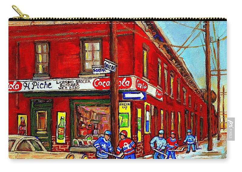 Piche's Corner Grocery Store Carry-all Pouch featuring the painting Piche's Grocery Store Bridge Street And Forfar Goosevillage Montreal Memories By Carole Spandau by Carole Spandau