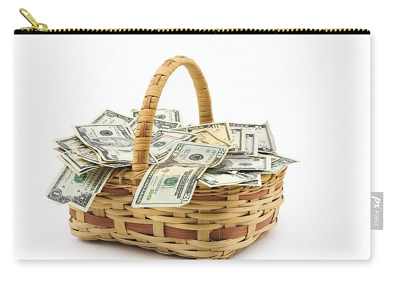 Money Carry-all Pouch featuring the photograph Picnic Basket Full Of Money by Keith Webber Jr