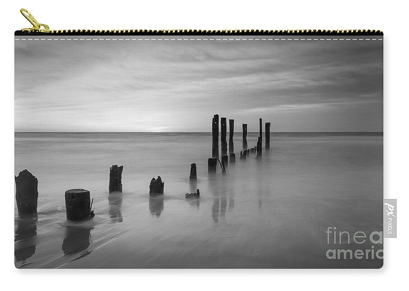 Milky Way Mike Carry-all Pouch featuring the photograph Pier Into The Past Bw 16x9 by Michael Ver Sprill