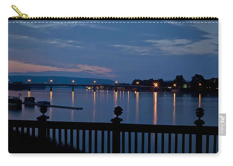 Sunset Carry-all Pouch featuring the photograph Pier Reflections by Deborah Klubertanz