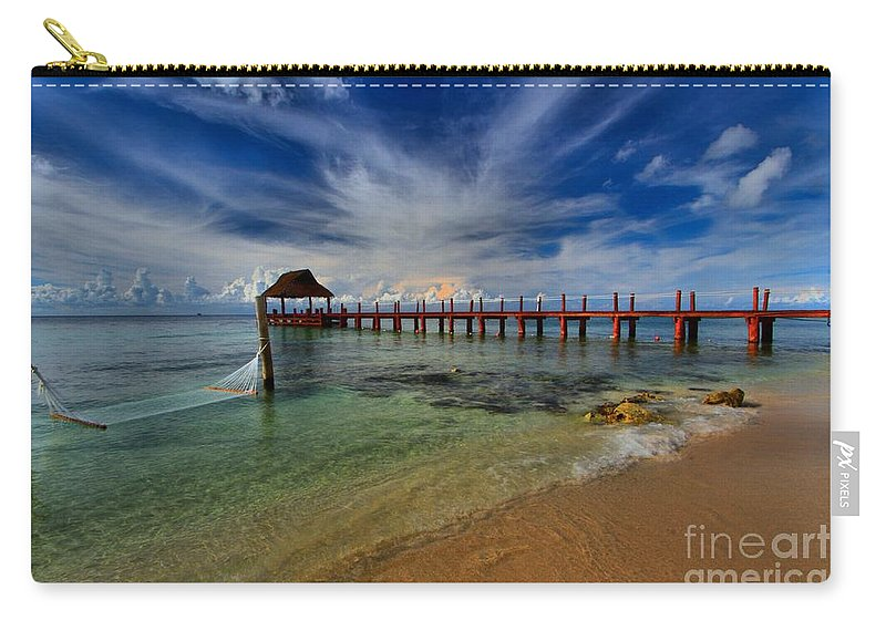 Caribbean Ocean Carry-all Pouch featuring the photograph Pier To Paradise by Adam Jewell