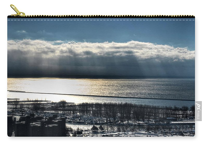 Winter Carry-all Pouch featuring the photograph Piercing Cold Rays Upon The Waters Winter 2013 by Michael Frank Jr