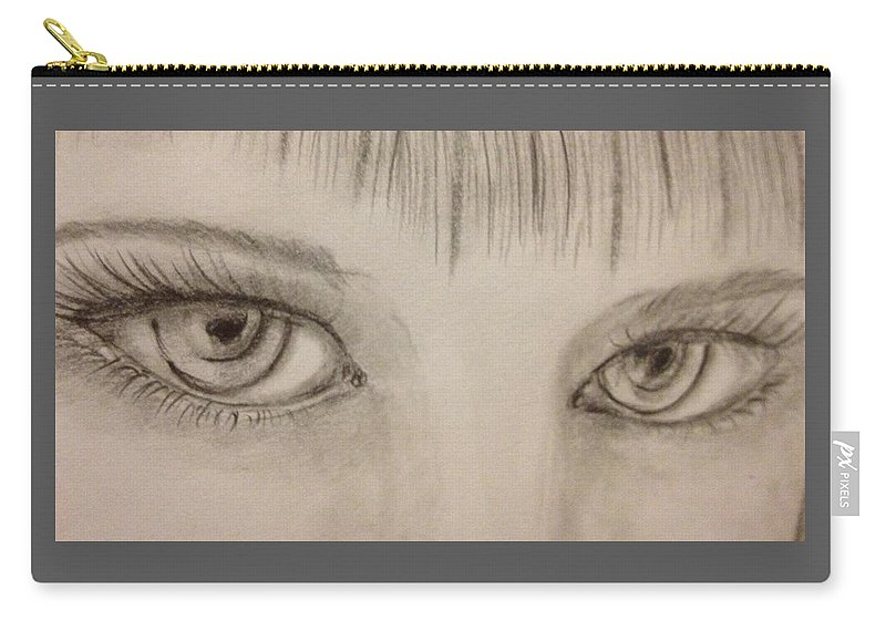 Eyes Carry-all Pouch featuring the drawing Piercing Eyes by Bozena Zajaczkowska