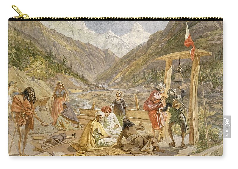 Indian Carry-all Pouch featuring the drawing Pilgrims At Gangootree, From India by William 'Crimea' Simpson