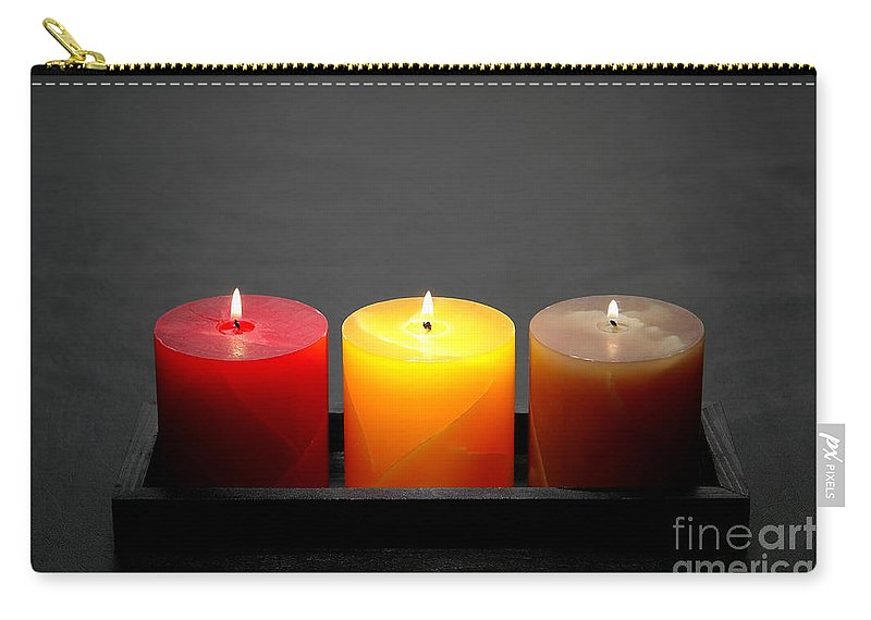 Candles Carry-all Pouch featuring the photograph Pillar Candles by Olivier Le Queinec