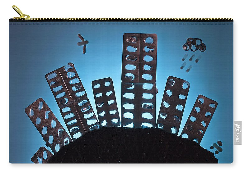 Shadow Carry-all Pouch featuring the photograph Pills And Blister Packs Arranged To by Fstop Images - Larry Washburn