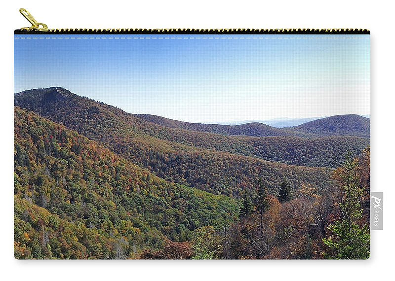 Landscapes. Printscapes Carry-all Pouch featuring the photograph Pilot Mountain Near Balsam Grove by Duane McCullough