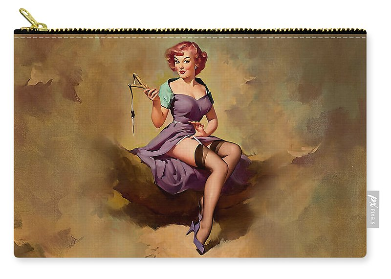 Pin Up Girl Carry-all Pouch featuring the digital art Pin Up Girl by Marvin Blaine