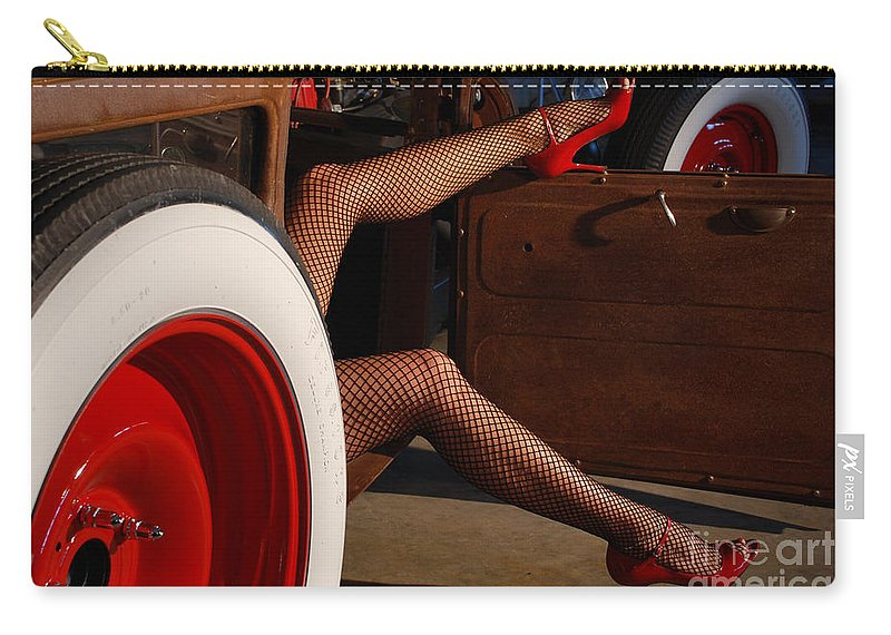 1930 Carry-all Pouch featuring the photograph Pin Up Legs In Red Heels by Jt PhotoDesign