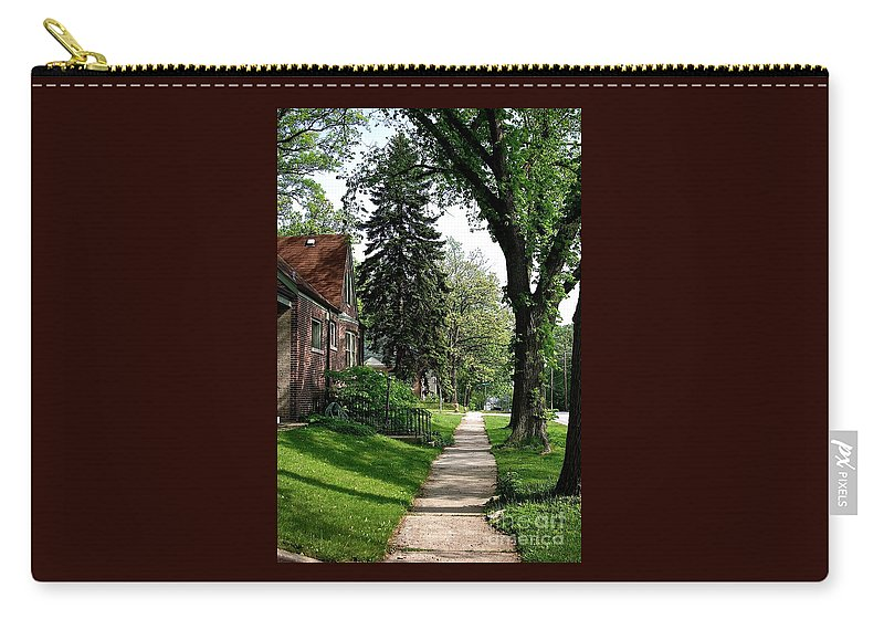 Road Summer Outdoors Trees Green Sidewalk Pine Tree Brick House Leaves Grass Blue Sky Walk Walking Scenic Landscape Branches Scenic Pine Tree Shadows Sunlight Frank J Casella Usa Homewood Illinoiis Carry-all Pouch featuring the photograph Pine Road by Frank J Casella