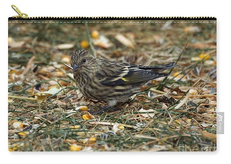 Pine Sikin Carry-all Pouch featuring the photograph Pine Sikin by Lori Tordsen