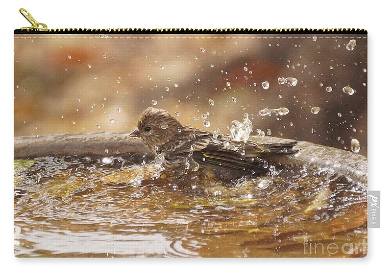 Pine Siskin Carry-all Pouch featuring the photograph Pine Siskin by Lori Tordsen