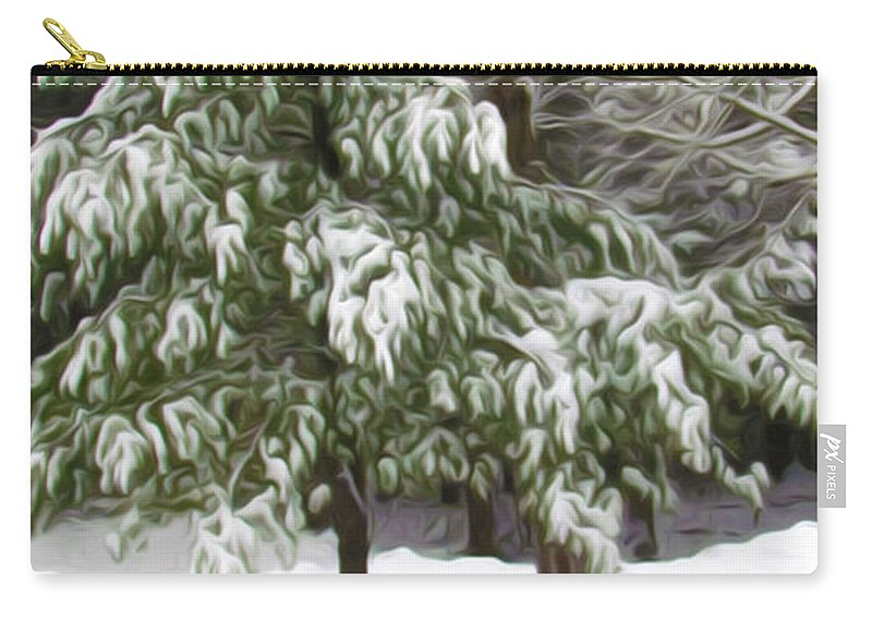 Beauty Carry-all Pouch featuring the painting Pine Tree Covered With Snow 2 by Jeelan Clark