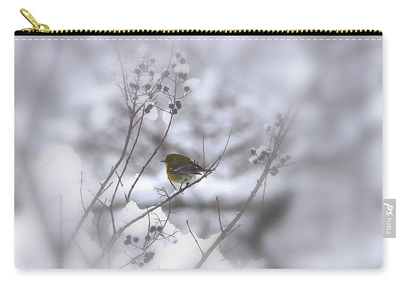 Pine Warbler Carry-all Pouch featuring the photograph Pine Warbler In The Snow - Better Than Red by Travis Truelove
