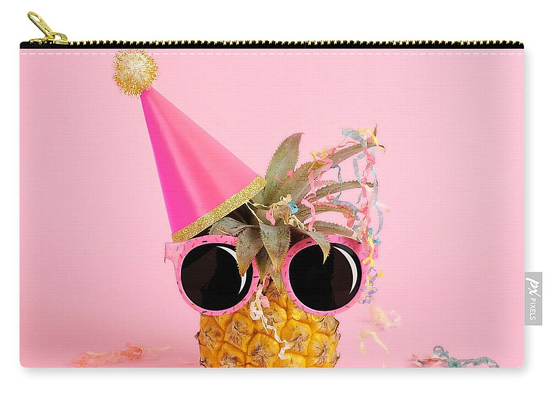 Celebration Carry-all Pouch featuring the photograph Pineapple Wearing A Party Hat And by Juj Winn