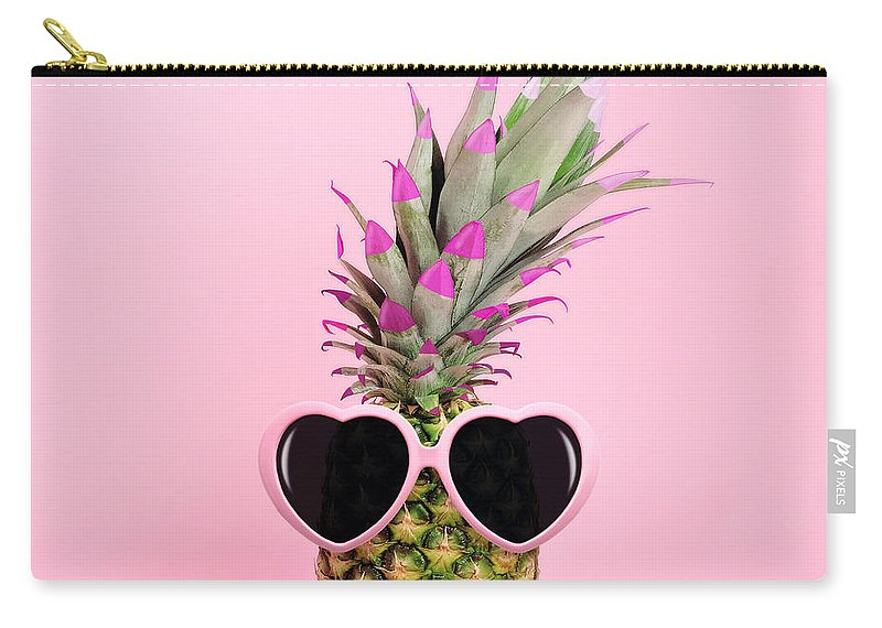 Food Carry-all Pouch featuring the photograph Pineapple Wearing Sunglasses by Juj Winn