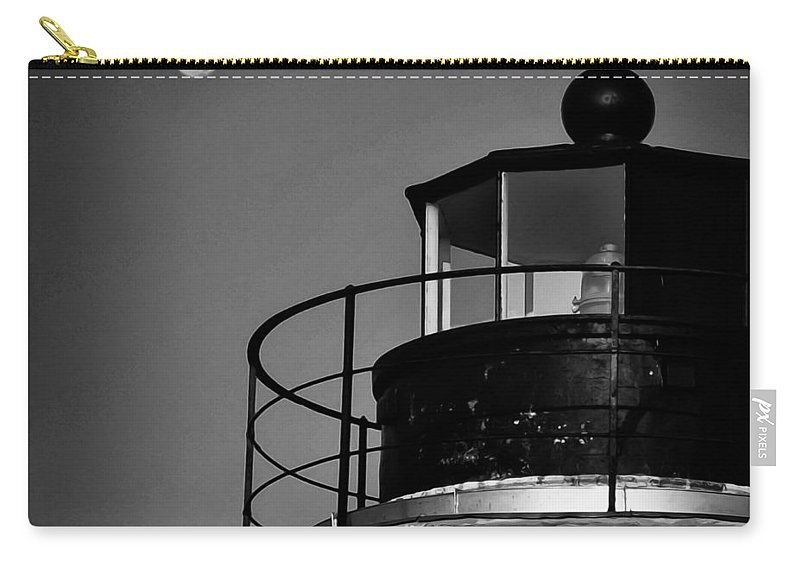 Piney Carry-all Pouch featuring the photograph Piney Point Lighthouse And Moon In Black And White by Bill Cannon