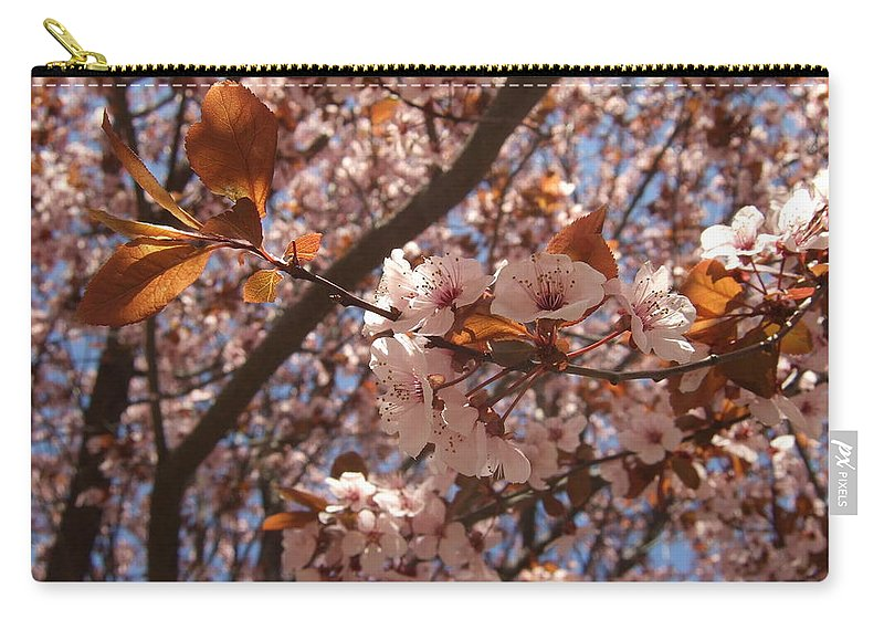 Carry-all Pouch featuring the photograph Pink And Leaves by Katerina Naumenko