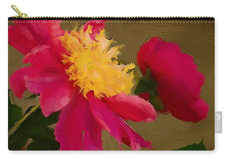 Pink Flowers Carry-all Pouch featuring the photograph Pink And Yellow Au Deux by Alice Gipson