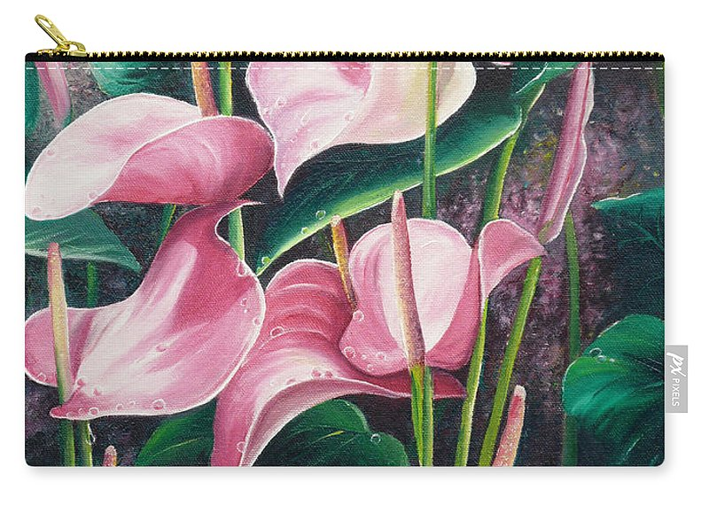 Floral Flowers Lilies Pink Carry-all Pouch featuring the painting Pink Anthuriums by Karin Dawn Kelshall- Best