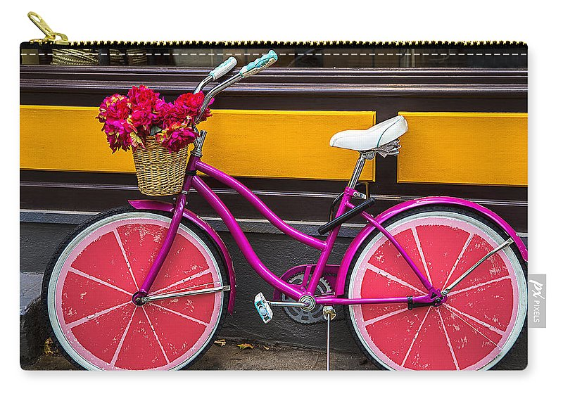 Pink Carry-all Pouch featuring the photograph Pink Bike by Garry Gay