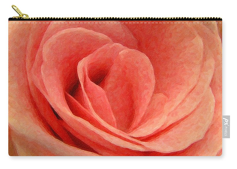 Rose Carry-all Pouch featuring the photograph Pink Blush - Digital Painting Effect by Rhonda Barrett