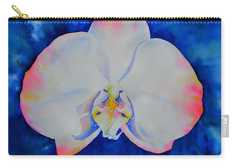 Watercolor Orchid Painting Carry-all Pouch featuring the painting Pink Blush Orchid by H Cooper