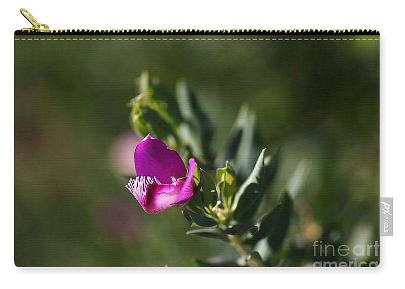 Pink Blush Flower Carry-all Pouch featuring the photograph Pink Blush - Sweet Pea Bush by Joy Watson