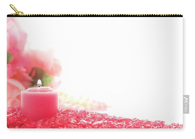Candle Carry-all Pouch featuring the photograph Pink Candle On Crystal by Olivier Le Queinec