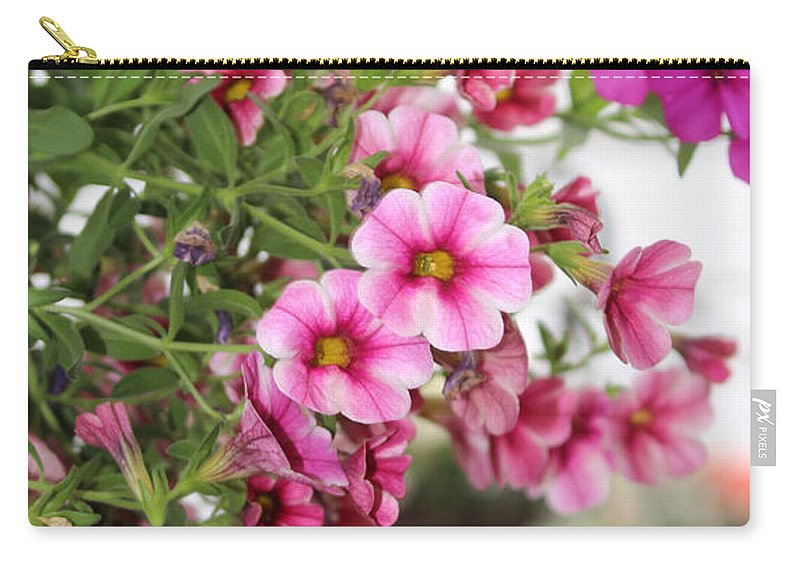 Pink Petunia Carry-all Pouch featuring the photograph Pink Curtain by Sylvia Thornton