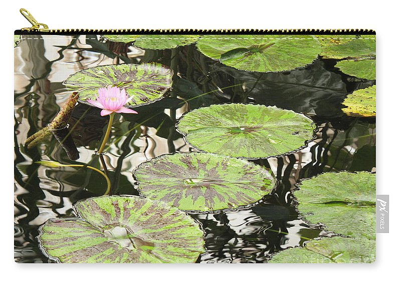 Pond Carry-all Pouch featuring the photograph One Pink Water Lily With Lily Pads by Carol Groenen