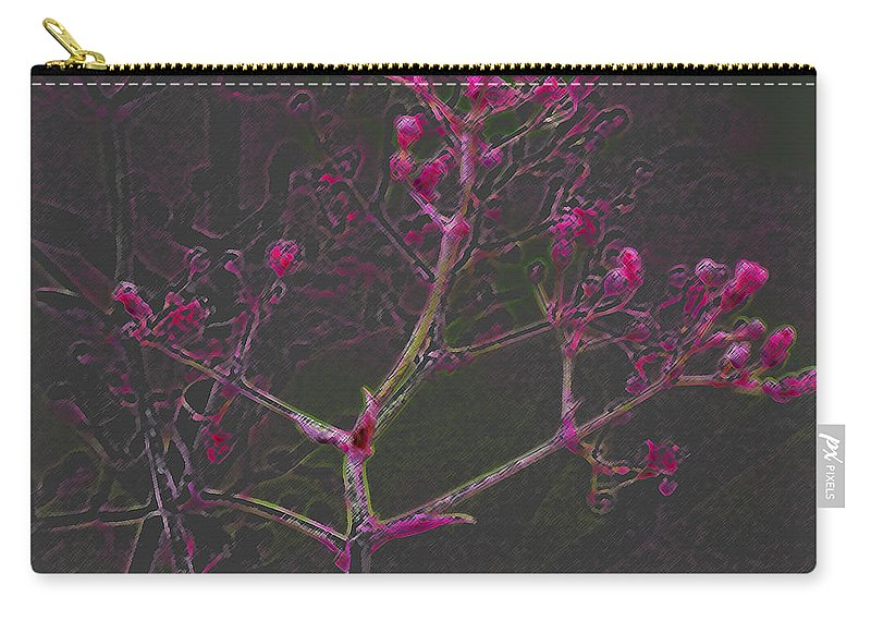 Pink Carry-all Pouch featuring the digital art Pink Flowers by Carol Lynch