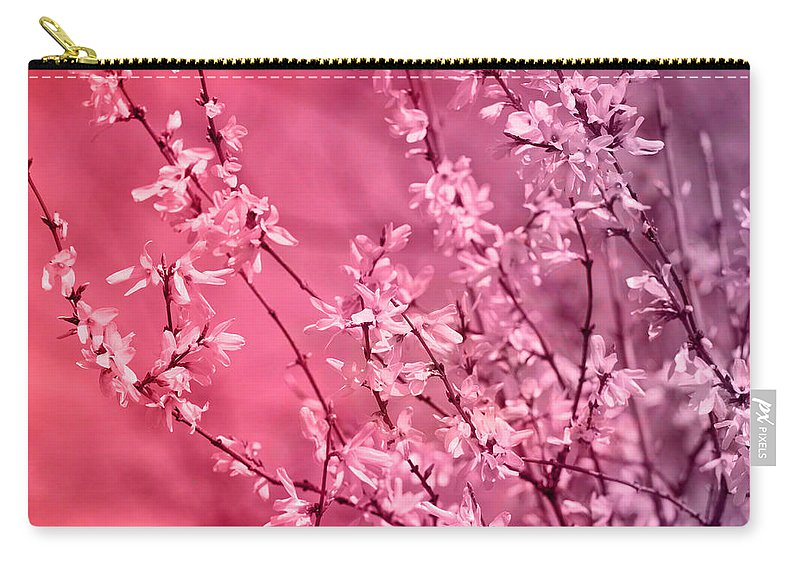 Pink Forsythia Carry-all Pouch featuring the photograph Pink Forsythia by Pati Photography