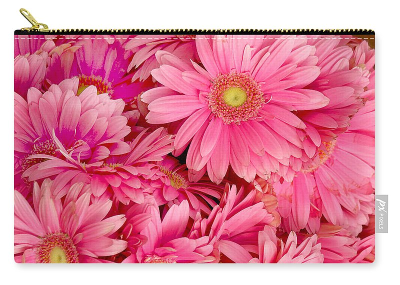 Gerbera Daisies Carry-all Pouch featuring the photograph Pink Gerbera Daisies by Art Block Collections