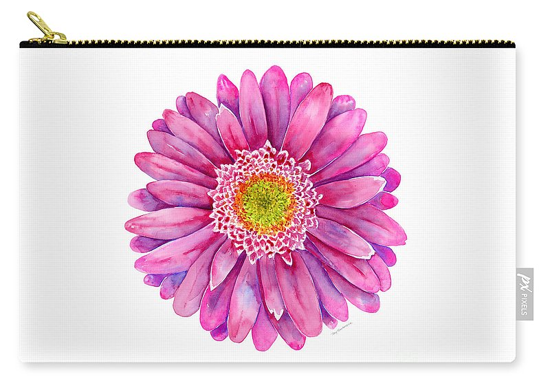 Gerbera Carry-all Pouch featuring the painting Pink Gerbera Daisy by Amy Kirkpatrick