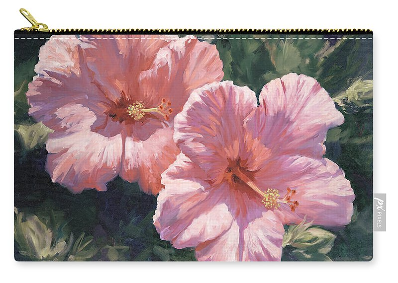 Pink Hibiscus Carry-all Pouch featuring the painting Pink Hibiscus by Laurie Snow Hein